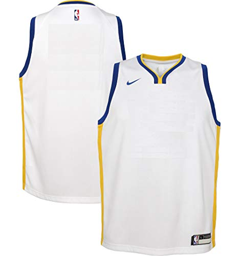 Nike Golden State Warriors NBA Boys Youth 8-20 White Home Blank Swingman Jersey (Youth Medium 10-12)