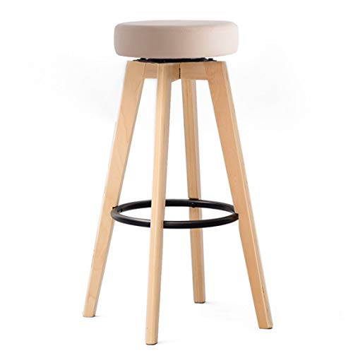 PLL barstoel, barstoel, staander, huishoudstandaard van massief hout, moderne, eenvoudige roterende, creatieve Europese stoel, ijzeren ring, 74 cm hoog, 1