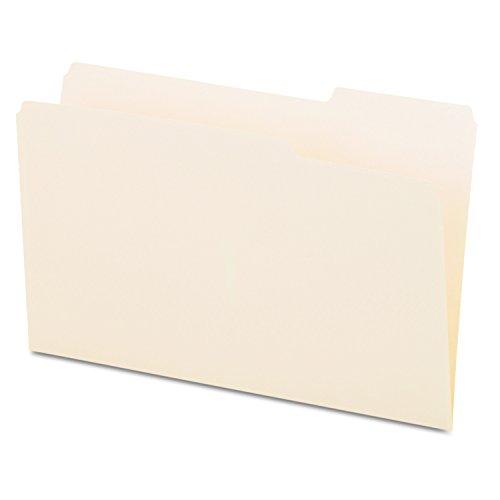 File Folders, 1/3 Cut, One-Ply Top Tab, Third Position, Legal, Manila, 100/Box