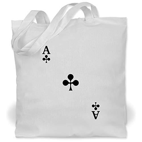 Karneval & Fasching Kinder - Spielkarte Kreuz - Unisize - Weiß - Poker - WM101 - Stoffbeutel aus Baumwolle Jutebeutel lange Henkel
