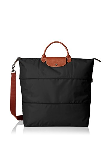 Longchamp Le Pliage Expandable Travel Duffel Weekender, Black, 17.75' x 13.75' x 9'