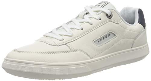 Tommy Hilfiger Herren Essential Court Leather Sneaker, Weiß (Ivory Ybi), 41 EU