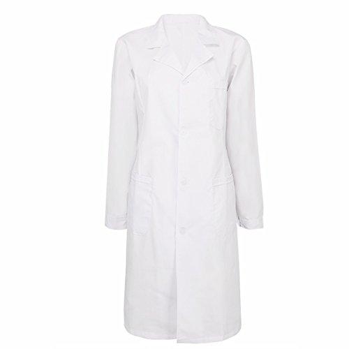 iiniim Damen/Herren Arztkittel Labormantel Laborkittel Unisex Kittel weiß Berufsbekleidung Baumwolle S-XXL Damen Weiß S