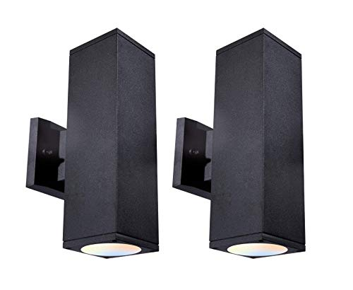 CLOUDY BAY 3 Color LED Outdoor Wall Light,Dusk to Dawn Photocell,24W 3000K Warm White/4000K Cool White/5000K Day Light Selectable, Up and Down Light, 2 Pack,Black Finished