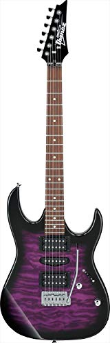 Ibanez GRX 6 String Solid-Body Electric Guitar, Right, Transparent Violet Sunburst, Full (GRX70QATVT)