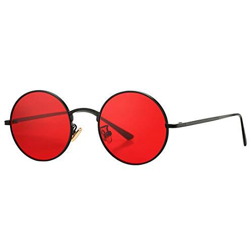 COASION - Gafas de sol unisex pequeñas de metal redondas, estilo John Lennon