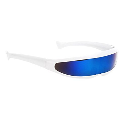 MagiDeal Futuristische Schmale Farbe Verspiegelte Linse Visor Sonnenbrille - Weiß Blau