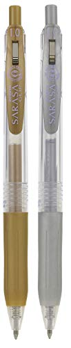 Zebra Sarasa - Bolígrafos retráctiles de 1,0 mm, tinta líquida en gel, oro y plata