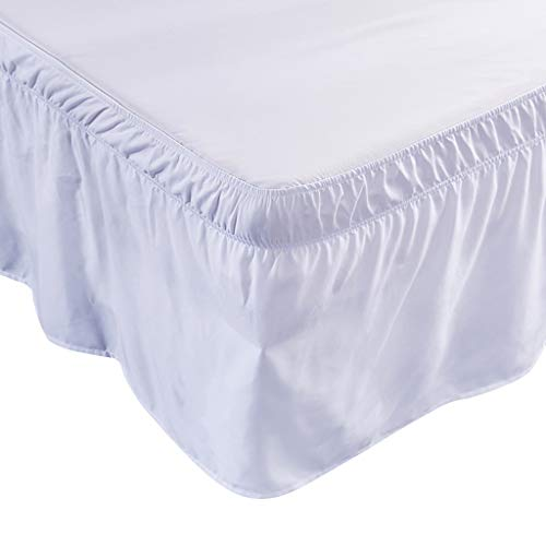 R-WEICHONG Plain bed skirt 6 bed sizes with elastic wrap on the side, adjustable bed linen with ruffles, home accessories.