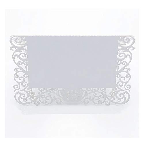 XUFAN 50st Pearlescent Lace Namn Placeringskort Bröllopsdekoration Table Decor Bord Namn Meddelande Hälsningskort Evenemang Party Supplies gift card (Color : White)