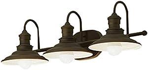 Hainsbrook 3-Light Aged Bronze Cone Vanity Light