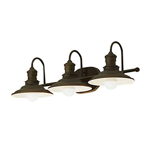 Hainsbrook 3-Light Aged Bronze Cone Vanity Light