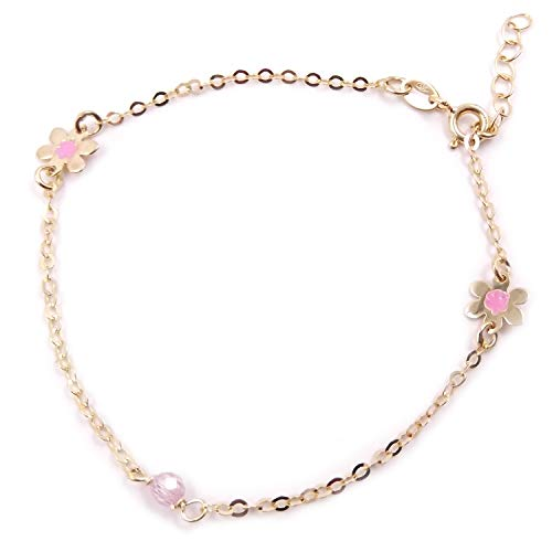 Joyas Aurum - Pulsera para niña de oro de 14 quilates con flor rosa, pulsera para mujer o niña
