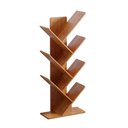 C&AHOME Tree Bookshelf, Bamboo Wood Bookcase, Book Rack, Storage Rack Shelves in Living Room, Free-Standing Books Holder Organizer, Space Saver for Home, Office, Kid's Room Oak Red