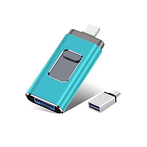 USB Flash Drive for iPhone 1TB, Keqiaai 4 in 1 External Storage Thumb Drive Photo Stick USB 3.0 Memory Stick Jump Drive Picture Stick for iPhone, Android, PC (Green)