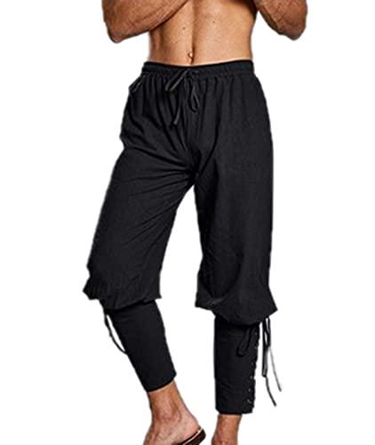 Pantalon médiéval Vintage pour Homme Pantalon en Lin à Bandes à la Cheville pour Homme Costume de Pantalon Gothique Renaissance