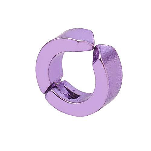 LUOSI 1 Unids Moda Clip De Oreja De Acero De Titanio para Hombres Y Mujeres Sin Orejas Pendientes Pendientes (no Par) (Metal Color : Purple 5165)