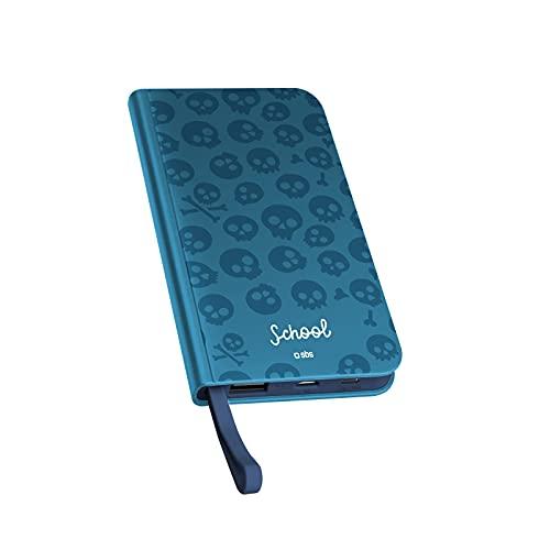 Powerbank 5000mAh Cargador de batería con 1 Entrada/Salida Type C 2A 1 Entrada Micro USB y 1 Salida USB 2A Diseño Agenda Azul