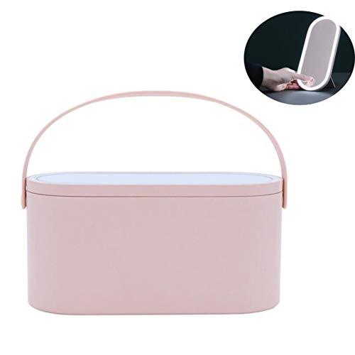 PsgWXL Boîtes de Rangement Cosmetic avec Miroirs à LED Réglage D Éclairage Smart Organisateurs de Grande Capacité Rotatifs pour Accessoires de Maquillage de Charge USB,Rose
