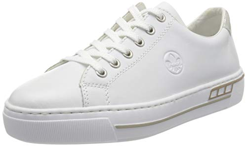 Rieker Damen Frühjahr/Sommer L88W1 Slip On Sneaker, Weiß (Hartweiss/Fog-Silver/ 80 80), 41 EU