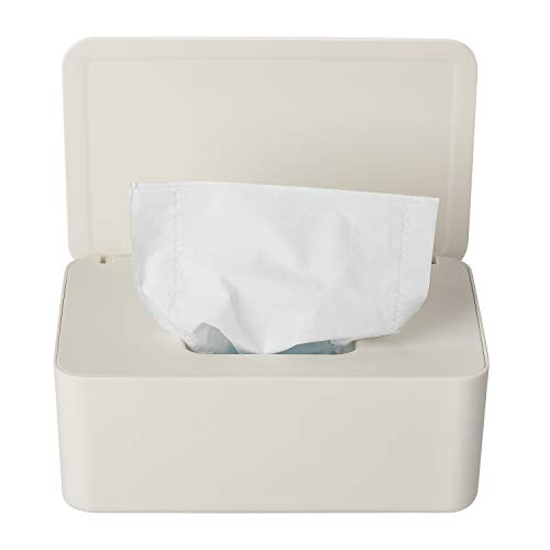 YAIKOAI Wipes Dispenser, Baby Wipes Box, Baby Wipe Holder Keeps Wipes Fresh, Reusable Wet Wipe Container Case with Sealing Non-Slip Rubber Feet Design (White)