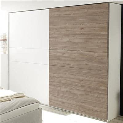 Deborah moderner Kleiderschrank, 275 cm, Weiß und Hellholz