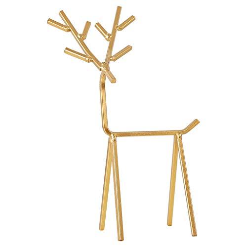 Soporte para joyas, 3D de ciervos dorados, soporte de exhibición para collares, pendientes, organizador de árbol, torre de ciervos geométricos para anillos y pulseras