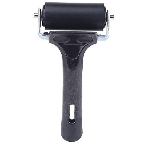Farbroller, Gummi Roller Walze Rubber Brayer Roller für Linoldruck und Blockdruck, schwarzer Griff - 5.12 Zoll, Rollenlänge - 2.36 Zoll