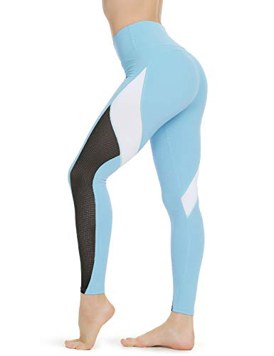 QUEENIEKE Women Yoga Pants Color Blocking Mesh Workout Running Leggings Tights Size S Color Sky Blue