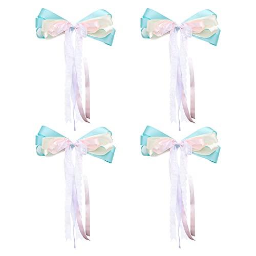 Irtyif cinta de coche de boda, Lazos de Regalo, 4 cintas de doble capa con lazo, cinta para lazo de regalo es adecuada para embalaje de regalo de Navidad, coche de boda, fiesta y hogar, azul