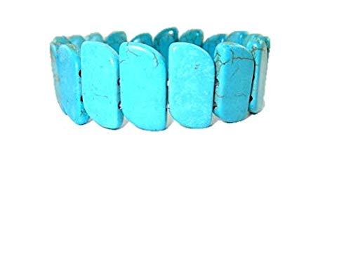 "HiJet Beautiful Turquoise Simulated Howlite Beads 8"" Stretchy Bangle Bracelets for women Nepal Tibetan India Asia Balancing Positive Energy Harmony Luck Natural Genuine Authentic Fashion Style"