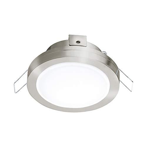 EGLO LED Einbaustrahler Pineda 1, LED Spot aus Stahl und Kunststoff, LED Einbauleuchte in Nickel-Matt, weiß, Bad-Einbaustrahler IP44, Ø 8,2 cm