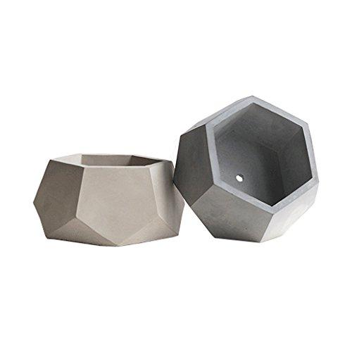 Pomcat faite à la main moderne de style géométrique Conerete Pot de fleurs (B)