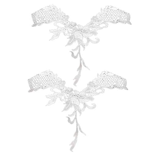 BYFRI Weiße Spitze-ordnungs-applique Blumen-kragen Stoff Patches Für Ausschnitt Nähen 2 Stück