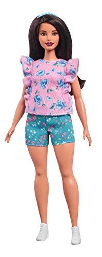 Barbie FJF43 Fashionista Puppe im rosa Tshirt mit Blumenmuster und Blauer Shorts