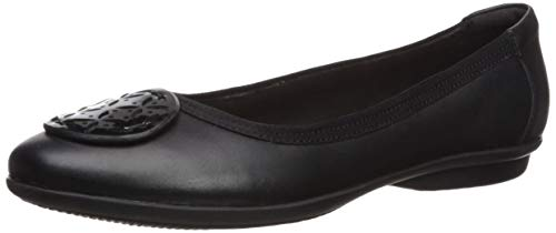 Clarks Womens Gracelin Lola Ballet Flat, Black Leather/Synthetic Combo, 8 Medium US