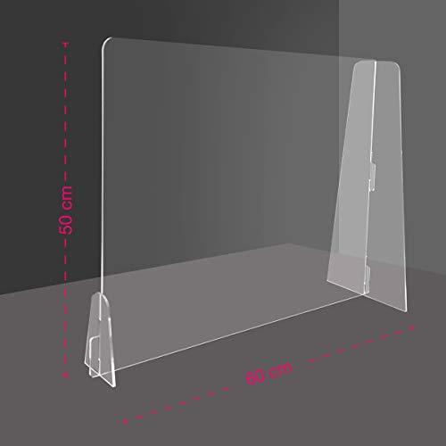 Generico Barriera Protettiva separatore da scrivania in plexiglass Trasparente 4 mm PDS - Divisorio per Ufficio parasputi parafiato (60x47 cm)