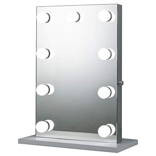 HOMCOM Hollywood Schminkspiegel mit 9 LED-Leuchten, Kosmetikspiegel auf freistehendem Sockel, Tischspiegel, Aluminium, Energieklasse A++, 60 x 22 x 72,5 cm