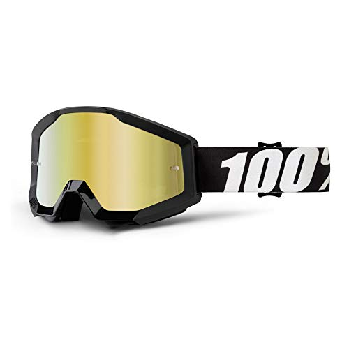 Strata 100% Goggle Outlaw - Mirror Gold Lens, Negro/Cristal