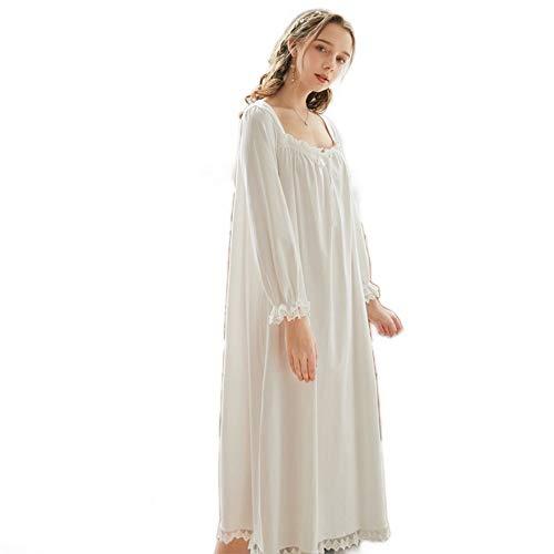 shangji Frauen viktorianischen Vintage Nachthemd Baumwolle Langarm Prinzessin Nachtwäsche Sexy Nachthemd Einteiliger Pyjama Schlafkleid (White,M)