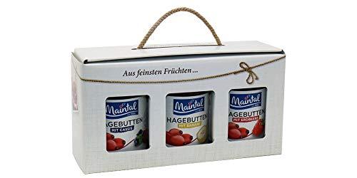 Geschenk/Geschenkset/Geschenkbox Hagebutten-Variationen, 3 x 340 g, Konfitüren extra