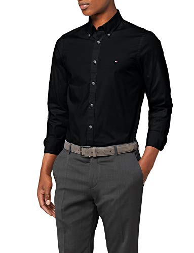 Tommy Hilfiger Core Stretch Slim Poplin Shirt Camisa, Negro (Flag Black 083), XX-Large para Hombre