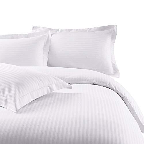 Nile Bedding Premium Quality 13cm satin Stripe Pattern 100% Cotton Duvet cover Set Mine craft Duvet cover and Pillow Shams (White, UK Single Size)
