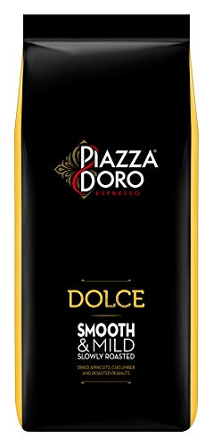 Piazza D'Oro Dolce, 1kg Kaffeebohnen, ganze Bohne, mild und ausgewogener Kaffee, 100% Arabica, ideal für Espresso, Cappuccino, Latte Macchiato, für Kaffee-Vollautomaten geeignet