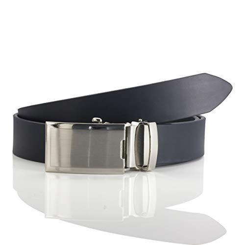 LINDENMANN Herren Ledergürtel/Herren Gürtel Automatik, Rindleder, marine, Größe/Size:110, Farbe/Color:blau