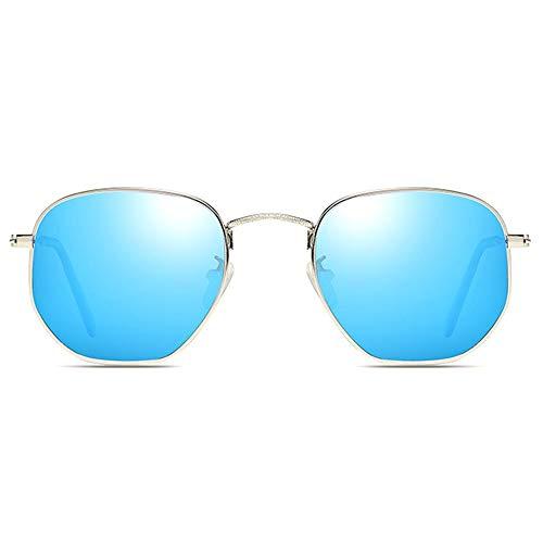 KK Zachary Gafas de sol con diseño de metal colorido UV400, lentes plateadas/azules, marco plateado, para hombres y mujeres con la misma conducción de conducción (color: azul)