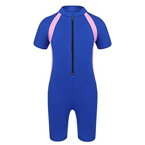 inhzoy Kinder Mädchen Neoprenanzug Kurz Taucheranzug UPF 50+ Einteiler Badeanzug Schwimmanzug für Wassersport Surf Blau 140-152/10-12 Jahre