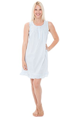 Alexander Del Rossa Womens 100% Cotton Lawn Nightgown, Sleeveless Chemise, X-Small Light Blue (A0580LBLXS)