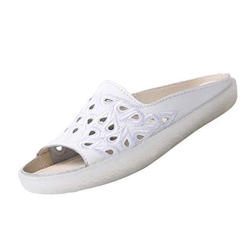 KERULA Damen Hausschuhe Flache Retro Loch Schuhe Dusche Badeschuhe Home Badelatschen rutschfest Slippers Pantoffeln Gartenschuhe Schlappen Slide Sandal Sandalen
