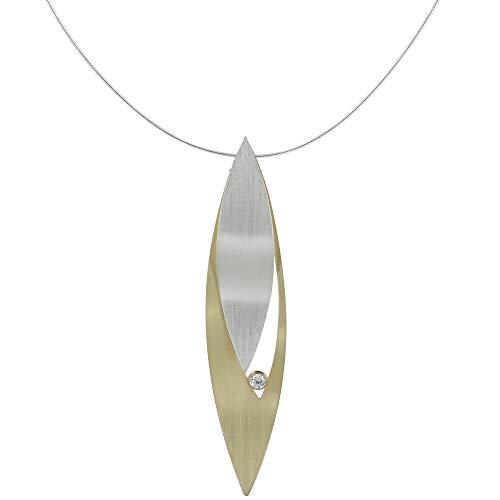 Gioelli Les Poulettes - Collana Placcato Oro Foglia Argento e Strass - Grande Modello